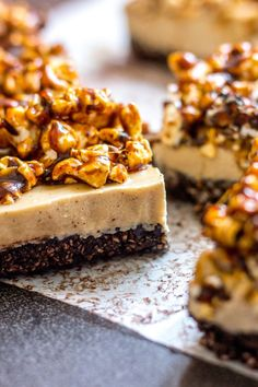 Vegan coffee cheesecake with salted caramel popcorn topping (vegan and gluten free).