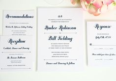 Navy Blue Wedding Invitation Suite by michellecml