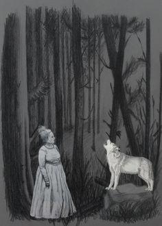 Nieuwe versie van de compositie. Het bos is donkerder gemaakt en langer zodat het duisterder wordt en de hele affiche gaat vullen. Grietje en de wolf springen er zo beter uit.