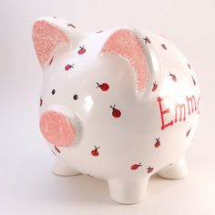 Lady Bug Piggy Bank - Personalized Piggy Bank - Nature Theme Bank - Bug Bank