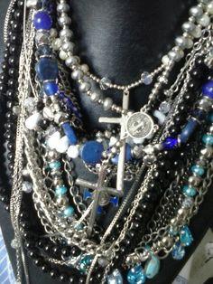 blue necklaces stones glass