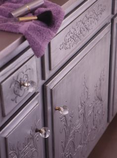 DIY Painted Furniture Projects and Embossed Plaster - Micah Classic Panel Stencils - Royal Design Studio Furniture Projects, Furniture Makeover, Deco Violet, Color Lavanda, Lavender Cottage, Lavender Fields, Purple Home, Royal Design, All Things Purple