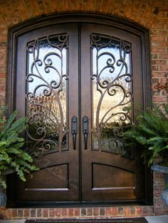 - - Make a statement with these iron double doors from Clark Hall. With bold and timeless design, these custom front entry doors speak for themselves. Double Front Entry Doors, Front Door Entryway, Iron Front Door, Wood Entry Doors, Wooden Doors, Barn Doors, Home Door Design, Door Design Interior, House Design
