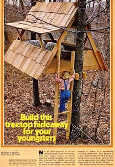 The kids will have a big fun when playing in a little house built up in a big tree. Here are the DIY tree house plans you can consult. Beautiful Tree Houses, Cool Tree Houses, Pallet Tree Houses, Backyard Playhouse, Build A Playhouse, Tree House Plans, Diy Tree House, Simple Tree House, Tree House Designs