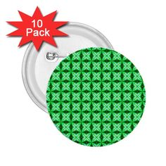 """Green Abstract Tile Pattern 2.25"""" Button (10 pack)"""
