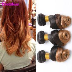 Ombre Human Hair Brazilian Virgin Hair Loose Wave 3 Bundles Wet And Wavy T1B/27 Two Tone Brazilian Ombre Human Hair Weave Bundle