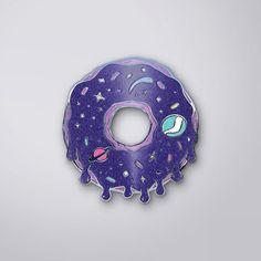 "Galaxy Doughnut pin; ""Mmmm, doughnuts.. *gurgles*"" • pinterest & instagram - @ninabubblygum •"