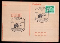 DDR SONDERSTEMPEL LEIPZIG / RASSEHUNDE DES VKSK / KARTE 1989