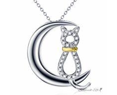 Anhänger Katze Moon aus 925 Silber Zirkonias mit Gelbgold...