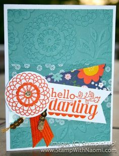 """Stampin' Up! Stamps: Hello Darling, Whisper White CS, Lost Lagoon CS, Flowerpot DSP, Window Sheets, Tangelo Twist Ink, Stazon White Ink, Tangelo Twist 3/8"""" Stitched Satin Ribbon, Gold Sequin Trim, 1-3/8"""" Circle Punch, 7/8"""" Scallop Punch, Lovely Lace Embossing Folder.  Designed by Mary Alice Bellis. #Stampinup #HelloDarling #SUO"""