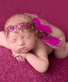 Look at this #zulilyfind! Hot Pink & Gold Glitter Headband & Wings by The Tiny Blessings Boutique #zulilyfinds