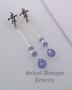Schaef Designs tanzanite, seed pearl & sterling silver  fleur de lis earrings | Schaef Designs artisan handcrafted gemstone Jewelry | upscale online jewelry gallery boutique | New Mexico