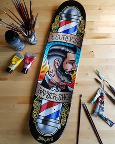 """Barber shop"" Traditional art, Acrylic on skateboard"