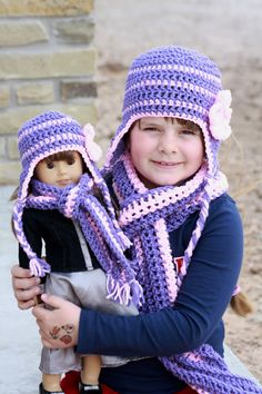 Matching Crochet hats and scarves  American Girl Doll