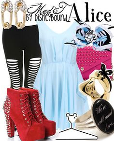 Disney Bound: Alice from Disney's Alice in Wonderland (Mad T Outfit) Disney Themed Outfits, Disney Inspired Fashion, Character Inspired Outfits, Disney Bound Outfits, Disney Fashion, Moda Disney, Alice In Wonderland Outfit, Disney Dress Up, Disney Clothes