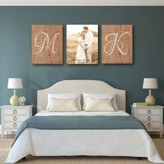 Geschenk Hochzeit - Rustic Wedding Vow Art with Photo on Canvas - Set of 3 canvases, wedding . Master Bedroom Design, Bedroom Wall, Bedroom Decor, Wall Decor, Wall Art, Bedroom Rustic, Master Bedrooms, Bedroom Ideas, Couple Room