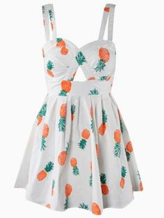 Pineapple Print Beach Skater Dress in White with Bow Tied Back - Choies.com