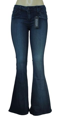 NWT BLEULAB Jeans Skinny Curve Super Flare Dark Blue Stone Wash REVERSIBLE Bell #Bleulab #SlimSkinny