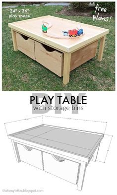 A DIY tutorial to build a kids play table with storage bins including free plans.