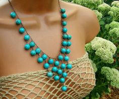 Hey, I found this really awesome Etsy listing at https://www.etsy.com/listing/105707985/statement-turquoise-bib-necklace-beaded