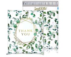 Pack It Chic - Pack) Geometric Leaves Pattern - Thank You Poly Mailer Envelope Plastic Custom Mailing & Shipping Bags - Self Seal (More Designs Available) Shipping Supplies, Shipping Boxes, Shipping Envelopes, Packaging Supplies, Packaging Ideas, Mailing Envelopes, Thank You Stickers, Plant Design, Floral