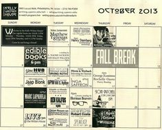 October at the Kelly Writers House. Note that every one of our events is video-streamed live: http://writing.upenn.edu/wh/multimedia/tv/