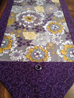 Purple Gold Gray & White Floral Table Runner by SheliInStitches
