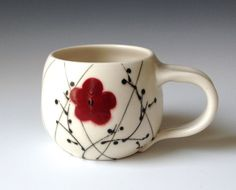 Porcelain Mug with Diagonal Lines and Red by kristenkswanson