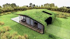 Huis met een groendak, minder horizonvervuiling, en een natuurlijke isolatie waar geen extra materialen voor nodig zijn.