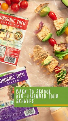 Easy to make back-to-school tofu sandwich skewers your kids will love! Tofu Sandwich, Tofu Recipes, Skewers, Sandwiches, Gluten Free, Organic, Foods, School, Healthy