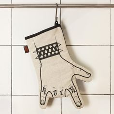 Rock'n'roll kitchen glove printed by hand - oven mitt - horns hand - right hand