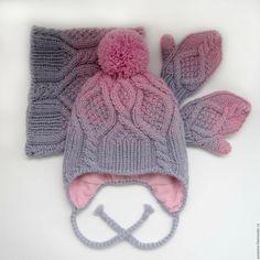 Купить или заказать Детский вязаный комплект 'Дымка' - шапка, снуд и варежки в интернет-магазине на Ярмарке Мастеров. Мягкий и приятный комплект для малышки отлично согреет свою маленькую хозяйку в зимние холода. Вязаная шапочка отлично облегает голову малыша, ушки не открываются при поворотах головы. Снуд в один оборот хорошо закрывает шею. Подкладка выполнена из флиса, возможны варианты исполнения с велсофтом или вязаной подкладки. Шапочка подойдет для малышей от 0 до 2-3 лет, для б...