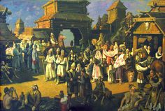 Market in medieval Arsk Medieval, History, Architecture, Illustration, Painting, Cities, Pintura, Arquitetura, Historia