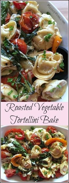 Roasted Vegetable Tortellini Bake -- A cheesy & delicious Meatless Monday Meal! Full of cheese and roasted veggies for a filling & flavorful vegetarian dinner idea. http://www.mashupmom.com/roasted-vegetable-tortellini-bake/