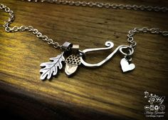 handcrafted silver oak leaf and acorn necklace for a tree sculpture, necklace or bracelet