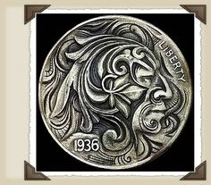 during the depression, people (especially hobos) elaborately carved nickels. the process still exists today. called Hobo Nickels. Nice.
