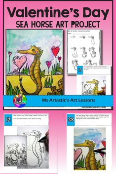 Create a Valentine's Day Sea Horse with Hearts art piece using Oil Pastels and Paint! Your students will really love this! This product is complete with a visual and text step-by-step (each step on its own page with description), a rubric for marking, a h