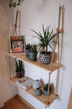 Home Design Diy, Diy Hanging Shelves, Wood Shelves, Diy Home Crafts, Diy Home Decor, Diy Crafts Room Decor, Home Decoration, Room Decor Bedroom, Living Room Decor