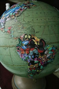 DIY butterfly covered globe