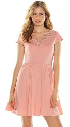 LC Lauren Conrad Lace-Trim Fit & Flare Dress - Women's