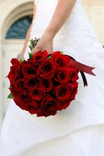 Classic red rose bridal bouquet
