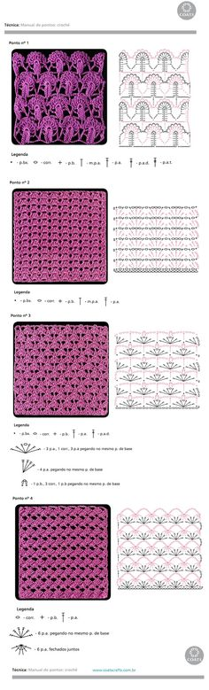 Crochet_Stitches -- Some very pretty stitches to try Crochet Stitches Chart, Crochet Motifs, Crochet Diagram, Crochet Squares, Knitting Stitches, Knitting Patterns, Crochet Patterns, Crochet Video, Crochet Diy