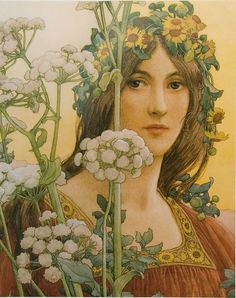 Our lady of the cow parsley by Elizabeth Sonrel (1874-1953)     watercolour with bodycolour over pencil