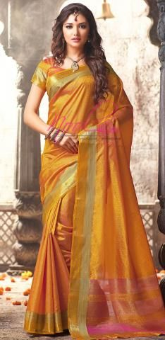 Art Silk Saree Yellow Kancheevaram Jacquard Weaved BZ4906D75352