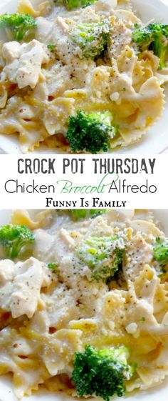 This Crockpot Chicken Broccoli Alfredo looks beautiful, and is surprisingly easy to throw together. If you like easy crockpot chicken recipes the whole family will like, look no further! Crock Pot Chicken Broccoli Alfredo Jackie Ross D Crockpot Dishes, Crock Pot Slow Cooker, Crock Pot Cooking, Slow Cooker Chicken, Slow Cooker Recipes, Cooking Recipes, Cooking Bacon, Crock Pot Pasta, Healthy Recipes