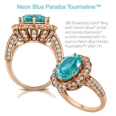 "The iridescent elegance of Neon Blue Paraiba Tourmaline™ dramatically set within Strawberry Gold® is a color trend that stand out in 2013 fine jewelry.  This gem exhibits an intense luminescent flavor and Neon characteristic with an almost ""glow in the dark"" feature."