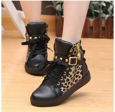 Love the black w/pattern idea, would totally wear those! -Faith Street Lace Up Rivet Skull Leopard Print Sports Sneakers