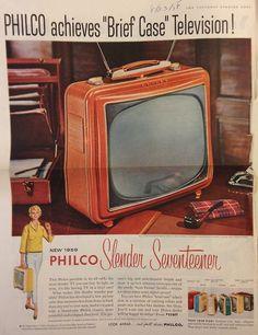 "Description: 1958 PHILCO TELEVISION vintage magazine advertisement ""Brief Case"" -- Philco achieves ""Brief Case"" Television! New 1959 Philco Slender Seventeen . Vintage Tv, Vintage Market, Vintage Ephemera, Vintage Magazines, Television Set, Vintage Television, Tvs, Old Advertisements, Retro Advertising"