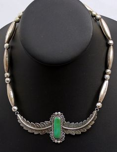 Vtg Southwestern Sterling Silver Green Turquoise Feather Plaque Necklace Signed #Unbranded