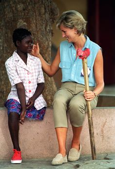 Princess Di in Angola, where she visited with children who had been injured by landmines.